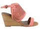 Women's Shoes, Madeline Modern, Wooden Wedge Sandal with perforated cut outs, Coral