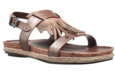 Quarter View: Shoes for Women, Women's Shoes, OTBT Tourist, Flat Tassel Fringe Sandal, Cork footbed, New Bronze