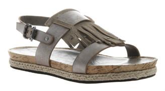 Quarter View: Women's Shoes, OTBT Tourist, Flat Tassel Sandal, Cork footbed, Silver