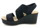 Women's Shoes, Madeline Dusky, Elastic Strap Wedge Sandal, Black