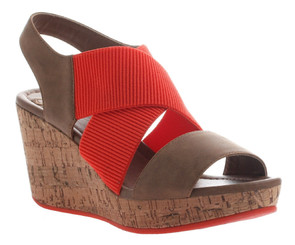 Women's Shoes, Madeline Dusky, Cork Wedge Sandal Red and Brown, Elasticized Straps