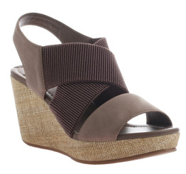 Women's Shoes, Madeline Dusky, Wedge Sandal, Taupe and Brown, Elasticized Straps