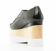 Back View: Women's Shoes, Jeffrey Campbell Digby Wood, Platform Oxford, Black Patent leather, wood & white sole