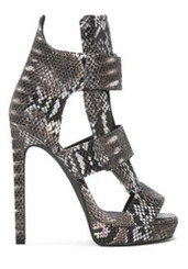 Side View: Women's Shoes, Women's Stiletto, Jeffrey Campbell Lahoya, High heel snakeskin sandal, black and silver, Size 7