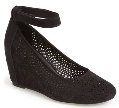 Women's Shoes, Jeffrey Campbell Cirque, Mary Jane Wedge Heel, Black perforated suede