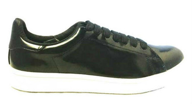 Side View: Women's Shoes, Jeffrey Campbell Player, Black White Lace Up Sneaker, patent leather Black upper, white sole