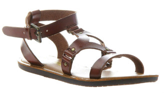 Quarter View: Women's Shoes, Madeline Shoes Delani Sandal, Brown flat gladiator sandal