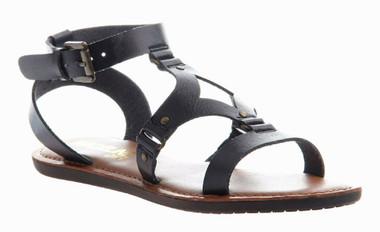 Quarter View: Women's Shoes, Madeline Delani Sandal, Flat gladiator sandal, black