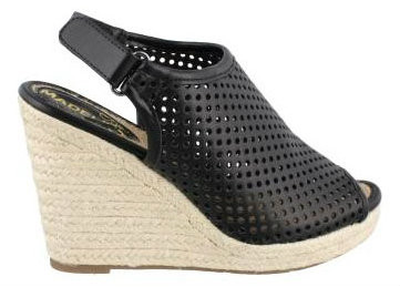 Women's Shoes, Madeline Girl Minimal, Wedge High heel sandal, black, perforated