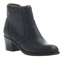 Women's Shoes, Nicole Kadin Ankle Bootie, Black Leather, Wooden Heel