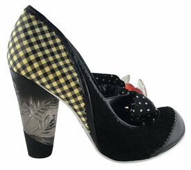 "Women's Shoes, Irregular Choice Mary Jane with oversized bow and heart charm, Black White Gingham and black suede mix upper, etched lucite heel. 3 3/4"" heel."