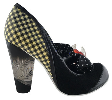 """Women's Shoes, Irregular Choice Mary Jane with oversized bow and heart charm, Black White Gingham and black suede mix upper, etched lucite heel. 3 3/4"""" heel."""