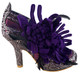 """Women's shoes, Irregular choice McGillionaire, Purple oversize flower ankle boot. Metallic leather upper with reptile print. Metallic silver and purple. 3 3/4"""" heel."""