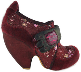 Women's Shoes, Irregular Choice Pony Hair ankle boot, burgundy printed fabric upper with pony hair overlay, metallic suede covered heel and velcro closure. Padded claw design strap with embroidered cat face.