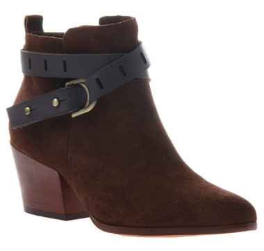 Women's Shoes, Nicole Francis Bootie, Western inspired ankle boot with wrap around straps and pointed toe. Muscat color way, rich burgundy, with black leather straps.
