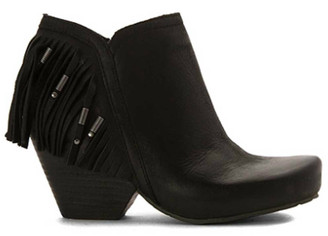 Women's Shoes, OTBT Folkloric Bootie, Western Fringe Bootie, Stacked wooden heel and rounded toe. Beaded fringe at back heel. Black Leather.