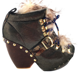 Women's Shoes, Irregular Choice platform ankle boot, Metallic gold & brown/black upper with faux fur, front lacing. Brass studs at bottom base.
