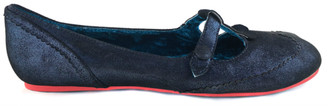 Side View: Women's Shoes, Women's Flats, Irregular Choice T-Strap flats, Metallic blue with red edging on bottom sole.