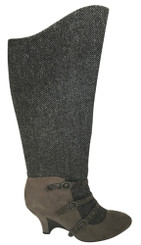 Women's Shoes, Women's Boots, Poetic Licence Mary Jane Boot, Dark grey herringbone wool upper with grey suede and multiple straps.