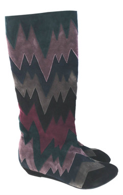 """Women's Shoes, Women's Boots, knee high boots by Irregular Choice, Suede Chevron patchwork, Navy Grey and Navy multi colors. 1 1/4"""" wedge heel."""