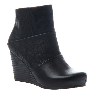"""Side View. Women Shoes Online, Women's Shoes, Women's Boots. OTBT Dharma Bootie, Wedge Bootie, Mix leathers, 3"""" stacked wedge."""