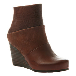 "Side View. Women Shoes Online, Women's Shoes, Women's Boots. OTBT Dharma Bootie, Wedge Bootie, Acorn (Brown), Mix leathers, 3"" stacked wedge."