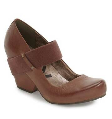 Top View. Women Shoes Online, Women's Shoes, Women's Wedge MaryJane. OTBT Bespoke Heeled Wedge with Fabric Strap. Metal stud details. Color Tuscany (brown).