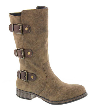 """Side View. Women Shoes Online, Women's Shoes, Women's Boots. Madeline Girl Roasted Mid Calf Boot, 1"""" heel and 3 multi straps, Mud (Light Brown) upper with antique brass hardware."""