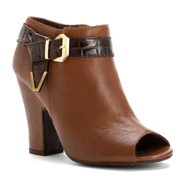 Side Quarter View: Women Shoes Online, Women's Shoes, Women's Boots, Nicole Lin Bootie, Leather upper with contrast leather buckle strap with metal ornaments. Peep toe, covered heel. Color: New Tan
