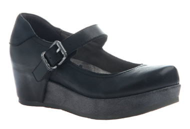 """Quarter Side View. Women Shoes Online, Women's Shoes, Women's Boots. OTBT Aura Flatform Mary Jane. Leather upper and approximately 1.61"""" flatform and .91"""" platform. Rubber sole, adjustable strap with silver buckle. Color: Black with distressed black flatform sole."""