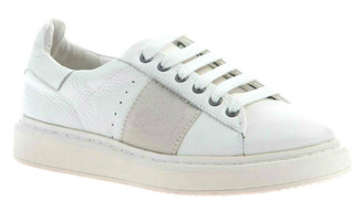 "Quarter View. Women Shoes Online, Women's Shoes, Women's Sneakers. OTBT Normcore. Classic Sneaker with leather upper and versatile lace option. 1.38"" heel height. Color: White."
