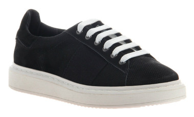 """Quarter View. Women Shoes Online, Women's Shoes, Women's Sneakers. OTBT Normcore. Classic Sneaker with leather upper and versatile lace option. 1.38"""" heel height. Color: Black."""