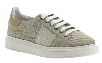 "Quarter View. Women Shoes Online, Women's Shoes, Women's Sneakers. OTBT Normcore. Classic Sneaker with Suede and leather upper and versatile lace option. 1.38"" heel height. Color: MidTaupe"