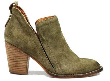 """Side View: Women's Shoes, Women's Bootie, Burman 2 in Khaki (green) Suede, Soft suede upper, elastic insert, 3"""" stacked wooden heel."""