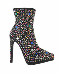 """Quarter View: Women's Shoes, Women's Boot, Stiletto Boot with multi-colored jewels. Jeffrey Campbell Vain Boot. Black suede upper. 5"""" heel and 1"""" platform, Size 5.5"""