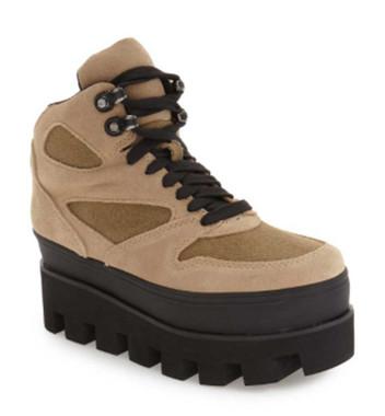 "Quarter View: Women's Shoes, Women's Boots, Jeffrey Campbell Half Dome, Women's Platform Hiking Boot, Canvas and suede upper in Khaki, Black 3"" platform lug sole. Sizes 6-10"