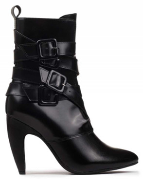 """Side View: Women's Shoes, Women's Boot, Stiletto Boot with multi-buckled straps. Jeffrey Campbell Destroyer. 4"""" curved heel, patent leather upper. Size 10M"""