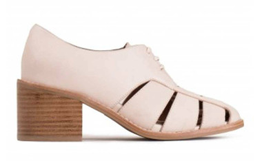 """Side View: Women's Shoes, Women's Oxfords, Jeffrey Campbell Alonzo, Woven leather upper, stacked wooden heel, and leather lining. 2.5"""" heel. Color Natural, Size 6."""