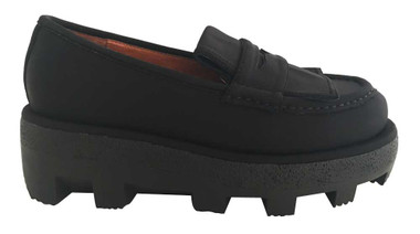 Side View: Women's Shoes, Women's Flatforms, Trumball by Jeffrey Campbell, Platform Loafers with Lug traction rubber sole, Neoprene upper, Color Black. Size 6
