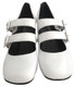 """Pair View: Women's Shoes, Women's Mary Janes, Jeffrey Campbell Bickle, Double Strap Mary Janes, Block 2.5"""" heel, Color White. Size 6"""