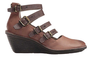 """Side View. Women Shoes, Women's Wedge, OTBT Biker, Multiple strapped Mary Jane. Razor cut leather upper, embossed leather straps, wooden wedge heel 2.5"""". Color Acorn (brown)"""