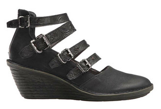 "Side View. Women Shoes, Women's Wedge, OTBT Biker, Multiple strapped Mary Jane. Razor cut leather upper, embossed leather straps, wooden wedge heel 2.5"". Color Black."