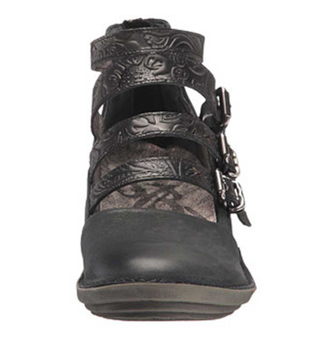 """Front View. Women Shoes, Women's Wedge, OTBT Biker, Multiple strapped Mary Jane. Razor cut leather upper, embossed leather straps, wooden wedge heel 2.5"""". Color Acorn (brown)"""