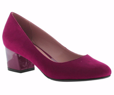 """Quarter View: Women Shoes, Women's Heels, Madeline Abbey, Women's Mid Heel, Rounded toe 2"""" square block heel, Color Red."""