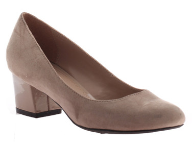"""Quarter View: Women Shoes, Women's Heels, Madeline Abbey, Women's Mid Heel, Rounded toe 2"""" square block heel, Color Mid Taupe."""