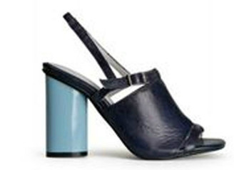 Side View: Women's Shoes, Women's Sandals, Jeffrey Campbell Lystra, slingback high heel sandal, Navy and light blue barrel heel. Size 8. Leather.