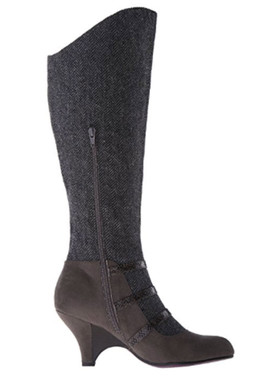 InSide View: Women's Shoes, Women's Boots, Poetic Licence Top Notch Boot, Dark grey herringbone wool upper with grey suede and multiple straps.