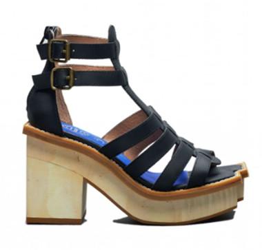 "Side View: Women's Platform Sandal, Women's shoes, Jeffrey Campbell Eames, 4"" heel height, Size 8, Black"