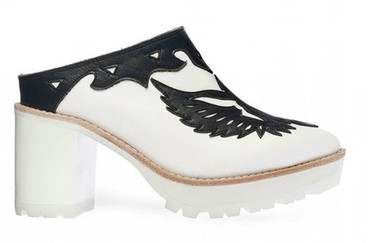 Side View: Women's Shoes, Women's Platform Slide, Jeffrey Campbell O-Ren, Leather upper, White Black, Size 7