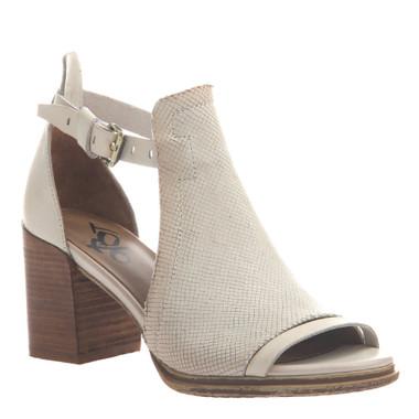 "Quarter View. Women Shoes, Women's Sandal, OTBT Metaphor, cut out bootie, Leather upper, 3"" heel, Color Sport White"
